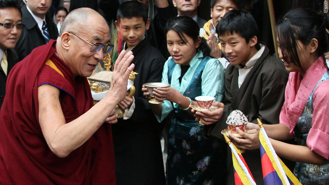 The Dalai Lama is greeted by well wishers on February 17 after arriving in Washington, DC.