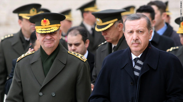 Turkey's top soldier Gen. Illker Basbug, left, has defended the military over allegations senior figures plotted to destabilize Prime Minister Recep Tayyip Erdogan's government.