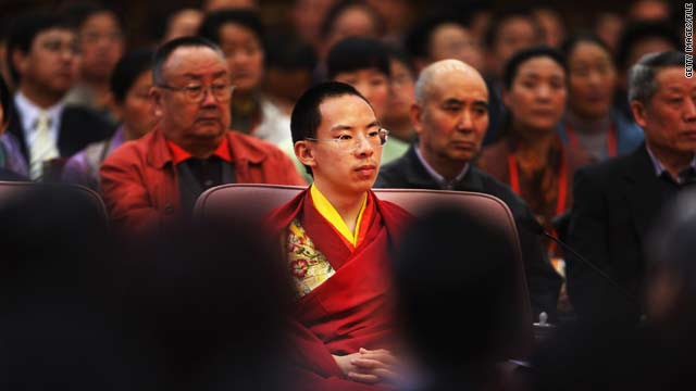 "The Panchen Lama attends a government symposium in Beijing in March 2009 to mark the 50th anniversary of China's ""liberation"" of Tibetans."