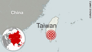 This map shows where the 6.4 quake struck Taiwan on Thursday morning.