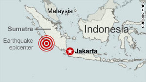 An earthquake, centered about 100 miles (165 kilometers) west of Bengkulu in Sumatra, hit shortly after 11 p.m.