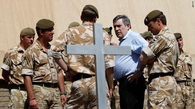 UK PM Gordon Brown during a visit March 6 to the Shawqat forward operating base, Lashkar Gah, Afghanistan.
