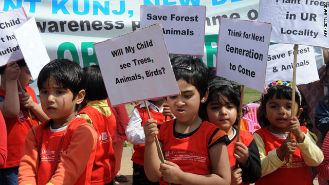 Children in India take part in a rally in New Delhi to urge others to protect the environment on March 10, 2010.