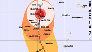 Trajectory of Cyclone Tomas.
