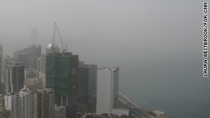 The internationally recognized view across Hong Kong's Victoria Harbour is obscured by Monday's haze.