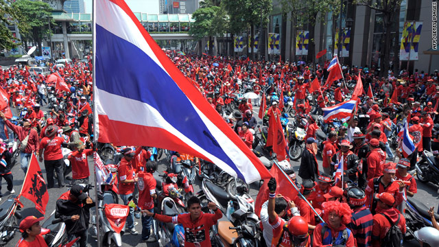 Red Shirt supporters of ousted premier Thaksin Shinawatra stage anti-government protests in Bangkok on April 3, 2010.