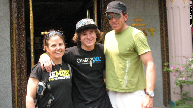 Jordan Romero poses with his father and stepmom in Nepal ahead of their Everest ascent on Sunday.
