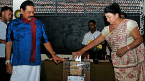 Sri Lankan President Mahinda Rajapaksa casts his vote in the parliamentary election on April 8.