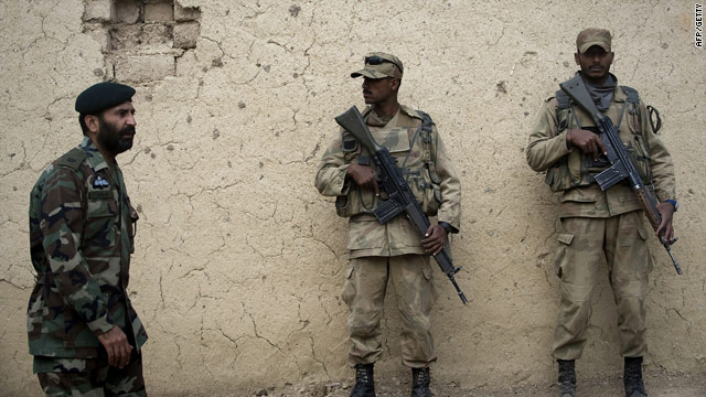 Pakistani army soldiers patrol North Waziristan in the tribal region in this file photograph.