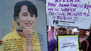 Supporters of Aung San Suu Kyi protest in Manila, Philippines, on March 8.