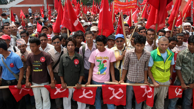 Nepalese workers affiliated to the Unified Communist Party of Nepal rally in Kathmandu on May 1.