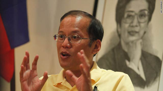 Senator Benigno Aquino, sitting in front of a drawing of his late mother on Tuesday, is poised to win the Philippine presidency.