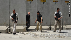Afghan President Hamid Karzai visits the heavily fortified Bagram Air Base on May 8.