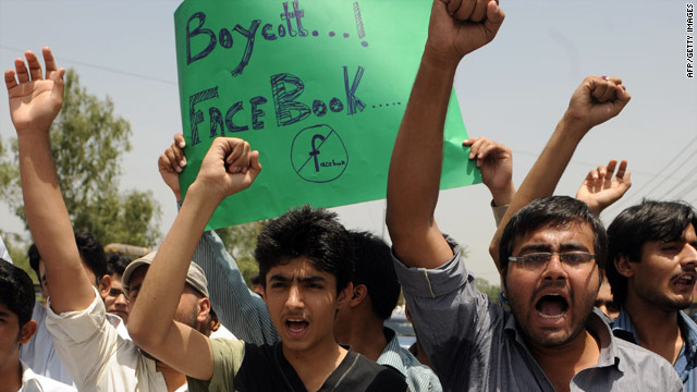 "Pakistani students shout slogans during a protest in Lahore over ""Everybody Draw Muhammed Day."""