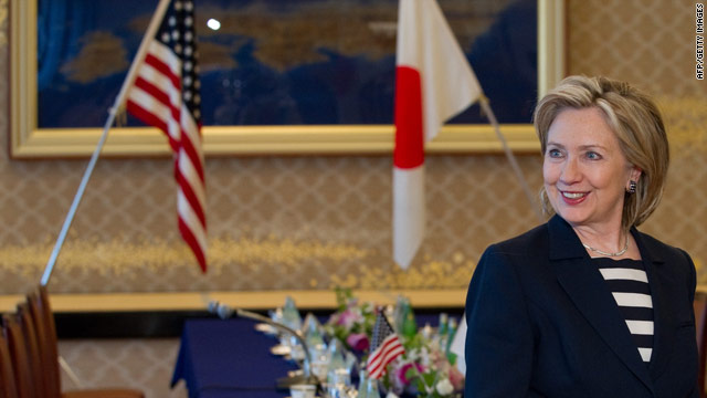 U.S. Secretary of State Hillary Clinton arrives for meetings with Japanese counterparts in Tokyo on Friday.