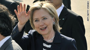 Secretary of State Hillary Clinton arrives in Tokyo, Japan, Friday for the start of her Asian tour.