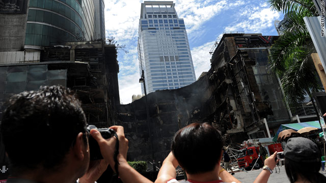 Thailand's biggest shopping mall,  Central World, was one of more than 30 buildings set alight by protesters in May.