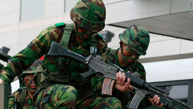 South Korean soldiers participate in a drill against possible threats from North Korea in Seoul on May 28.