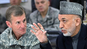 Gen. Stanley McChrystal during a briefing with Afghan President Hamid Karzai in Kabul,  April 10, 2010.