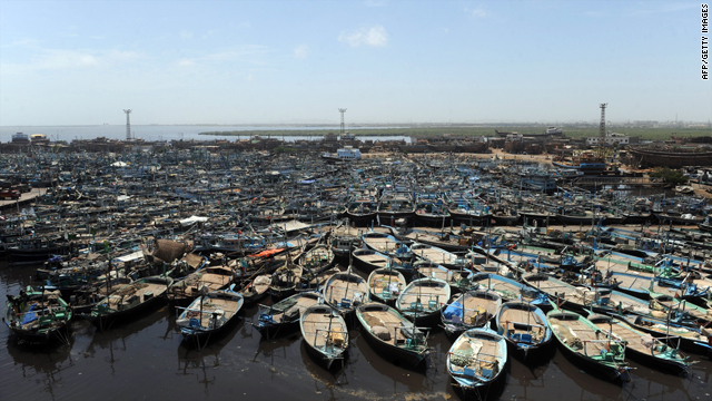 Fishing boats are seen moored at a harbour along the Arabian Sea in Karachi on Thursday.