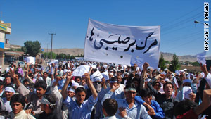 Demonstrators in Herat, Afghanistan, protest two Christian groups they accuse of proselytizing, which is illegal there.