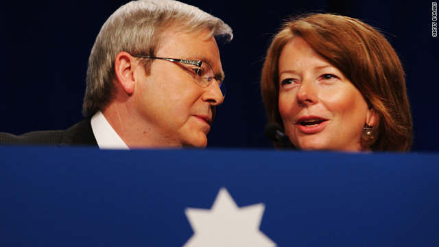 Australian Prime Minister Kevin Rudd and Deputy Prime Minister Julia Gillard arrive at the 45th National Labor Conference on July 30, 2009, in Sydney, Australia.