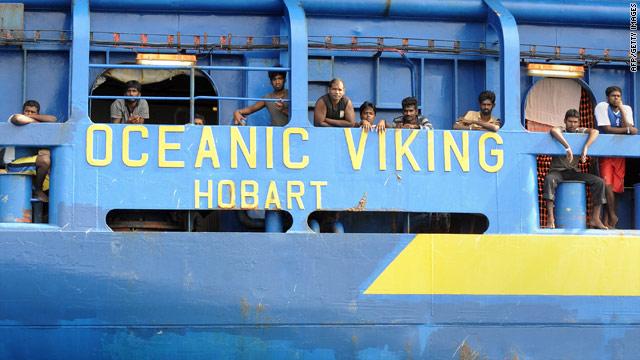 Sri Lankan asylum seekers aboard an Australian Customs and Immigration Fisheries Patrol vessel.