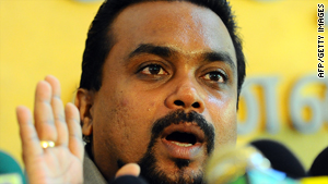 Wimal Weerawansa addresses the media amid calls for the    abolishment of the U.N. panel in Colombo on Wednesday.