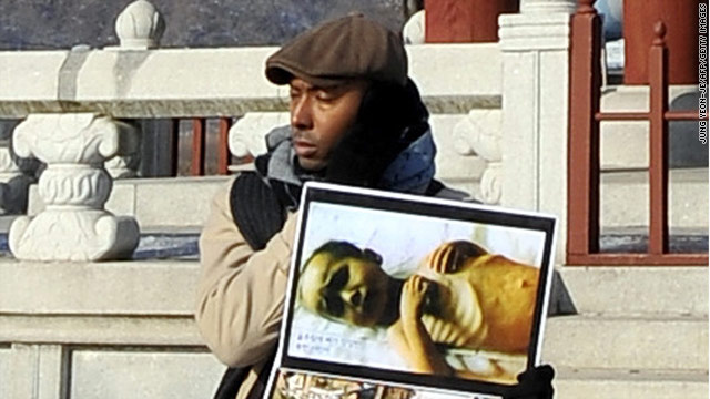 Human rights activist Aijalon Mahli Gomes was seen on January 12, 2010, taking part in a rally at Imjingak peace park near the closely-guarded South-North border in Paju.