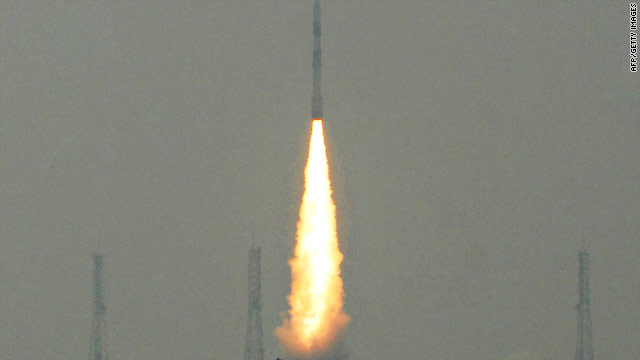 An Indian rocket carrying a payload of five satellites takes off from its launch pad on July 12, 2010.