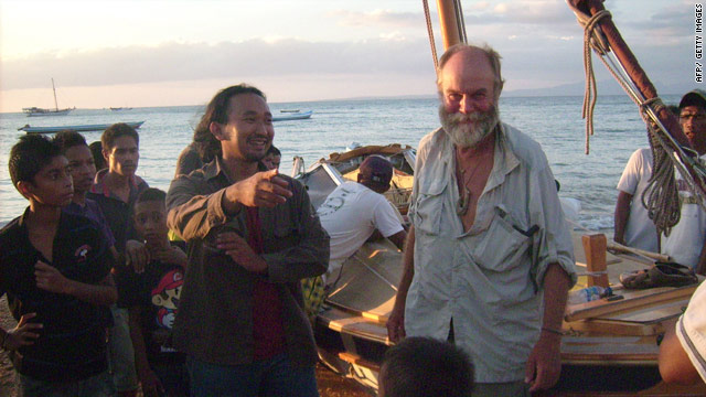 Captain Don McIntyre is welcomed by residents of Kupang, West Timor after he and his crew arrived safely to shore.