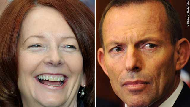 A combo photo shows Australian Prime Minister Julia Gillard and opposition leader Tony Abbott.