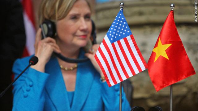 U.S. Secretary of State Hillary Clinton attends the signing of a memorandum of understanding in Hanoi, Vietnam on July 22, 2010.