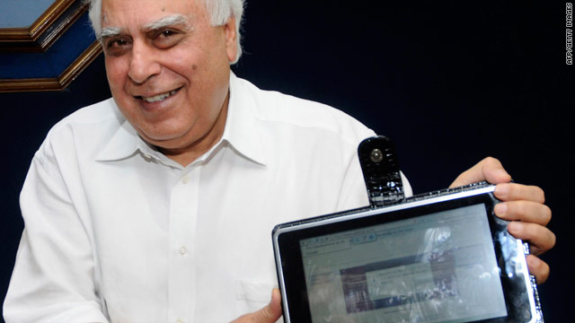 Indian government minister Kapil Sibal unveils a prototype of the $35 computer.