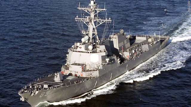 The guided missile destroyer USS Mustin is taking part in joint military exercises with South Korea.
