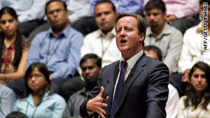 British Prime Minister David Cameron speaks in Bangalore, India, on Wednesday.