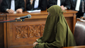 Putri Munawaroh during her trial in a court room in Jakarta on Thursday. She was sentenced to three years in jail.