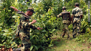 Indian troops on patrol in a jungle area known to be a Maoist stronghold earlier this year.