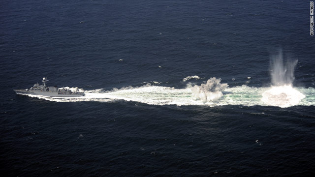 A South Korean destroyer drops depth charges during anti-submarine drills on Thursday.