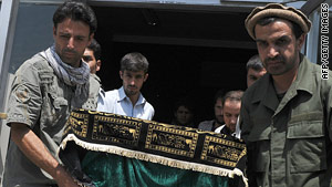 Relatives and friends carry the coffin one of the slain Afghans from a morgue in Kabul, Afghanistan.
