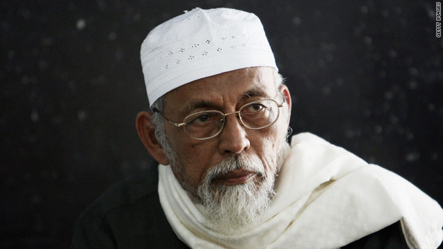 Abu Bakar Bashir at a mosque in Jakarta, Indonesia, in 2006