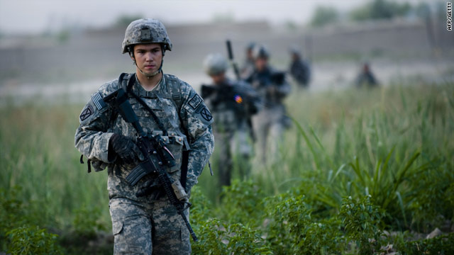 US soldiers of 2nd Platoon Bravo Troop of 1st Squadron, 71st Cavalry patrol in Kandahar Province last month.