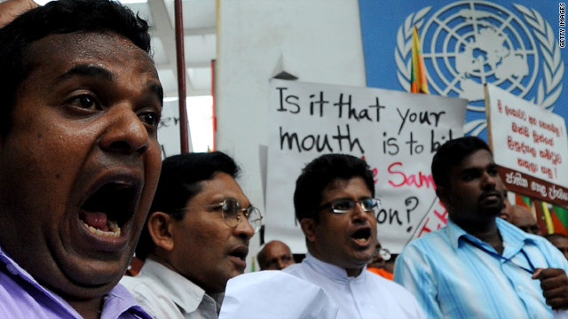 Sri Lankans protest outside the U.N. office in Colombo on June 28, 2010, against the naming of a U.N. panel to investigate possible war crimes committed during the final months of the conflict with the Tamil Tiger rebels.