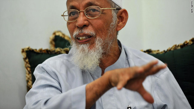 Islamic cleric Abu Bakar Bashir, seen here in 2008, was arrested on Monday by Indonesian police for setting up militant camps.