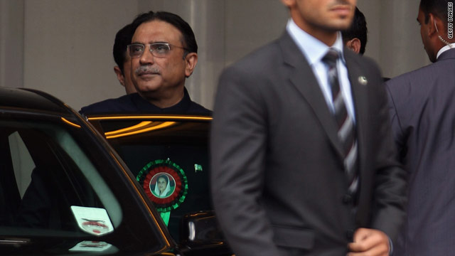 Pakistan's President Asif Ali Zardari pictured on a recent visit to the United Kingdom on Saturday.