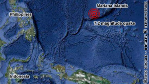 The quake struck 233 miles west-southwest of Hagatna, Guam, and was 2.9 miles deep in the earth's crust.