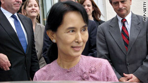 No vote: Aung San Suu Kyi in Yangon in November
