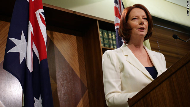 Australian Prime Minister Julia Gillard speaks to the media at Treasury Place on August 22, 2010 in Melbourne, Australia.