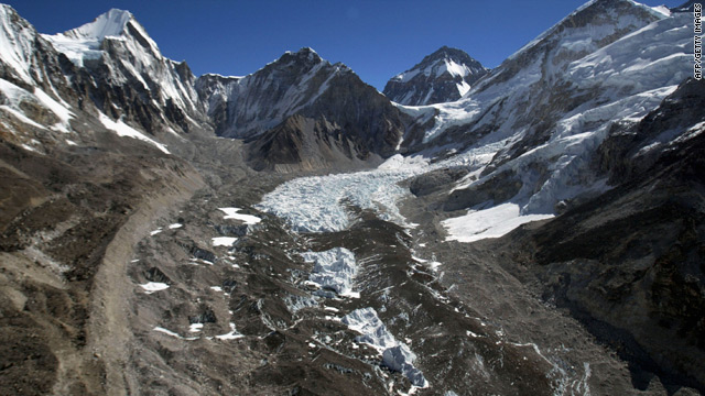 The IPCC report stated that Himalayan glaciers,  like the Khumbu Glacier along Everest's Himalayan range, would vanish by 2035.