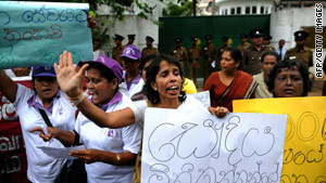 Sri Lankans protest Monday outside the Saudi Arabian Embassy in Colombo over the alleged abuse of a maid.